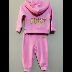 NWT $64 Baby Juicy Couture Velour Tracksuit 12M